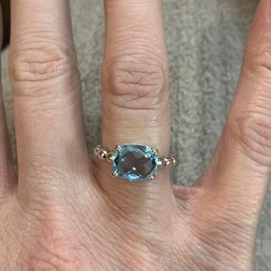 Pandora Silver Blue Topaz Ring